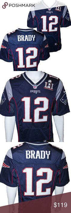 99aace27786 New England Patriots Brady Super Bowl 51 Jersey New England Patriots Tom  Brady  12 blue