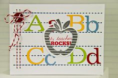 My Teacher Rocks! Card by Erin Lincoln for Papertrey Ink (August 2014)