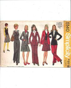 Simplicity 5140 Pattern for Misses' Blazer Skirt Vest