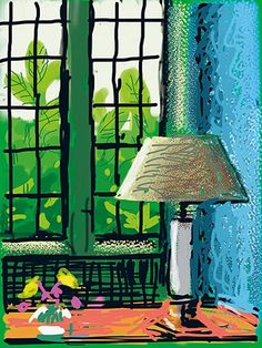 David Hockney book: Untitled, 6 August 2010 iPad Drawing of a lamp by a window