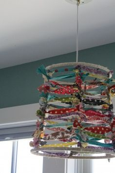repurposed shade w/ colorful fabric strips  (Paint color in background: Mermaid Net by Behr)