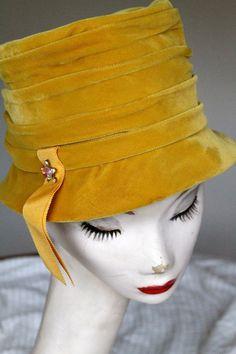 "1960s Vintage Gold Mustard Velvet Hat with Rhinestone Pin- 22""."