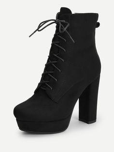 Elegant Point Toe Short Platform Side zipper Black High Heel Chunky Lace Up Platform Block Heeled Boots - High Heels Fashion Black Heel Boots, Black High Heels, High Heel Boots, Lace Up Boots, Heeled Boots, Shoe Boots, Shoes Heels, Cute Shoes, Me Too Shoes