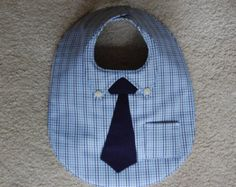 Shirt and Tie Bib with Pocket SquareDressed by CarolynsClassics Hat Patterns To Sew, Sewing Patterns Free, Free Sewing, Office Baby Showers, Baby Applique, Adult Bibs, Jean Crafts, Baby Sewing, Baby Bibs