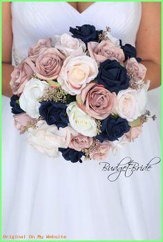 DIY Wedding Bouquet - dust rose mauve navy blue blush pink roses fake bridal bouquet round Wedding B Fake Wedding Flowers, Diy Wedding Bouquet, Bride Bouquets, Navy Bouquet, Black Rose Bouquet, Bridal Bouquet Blue, Vintage Wedding Flowers, Flower Bouquets, Bridesmaid Bouquet