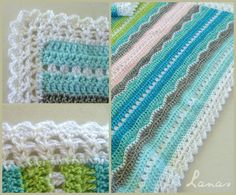 Inspiration :: Miami Beach Baby Blanket simple mixed-stitch pattern, border done with two rows of V-stitch & final row of shells. . . . ღTrish W ~ http://www.pinterest.com/trishw/ . . . #crochet #afghan #throw