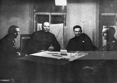 Interrogation of field marshal von paulus, commander of german forces at stalingrad, interrogators: general konstantin rokossovsky (left), general nikolai voronov (center), von paulus, right, 1943, ussr, world war 2 .
