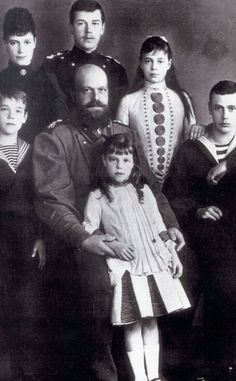 Tsar Alexander III of Russia and his spouse Marie Feodorovna, their children, also Tsarevich Nicholas - 1887