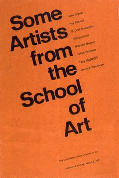 Poster for the University of Iowa's School of Art designed by Irwin McFadden 1971