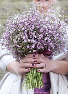63 Ideas For Wedding Bridesmaids Purple Babies Breath Bouquet Gypsophila Bouquet, Gypsophila Wedding, Bride Bouquets, Bouquet Flowers, Bouquet Wedding, Purple Bridesmaid Bouquets, Lilac Bouquet, Bridal Flowers, Purple Flowers