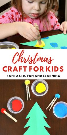 This easy Christmas tree craft is perfect for kids of all ages. Toddlers, preschoolers, and big kids will have fun designing their own Christmas trees with this easy pom pom painting technique.