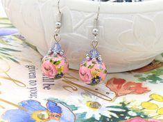Vintage Rose Earrings, Short Drop Earrings, Wedding Jewellery, Bridesmaid Earrings, Summer Earrings, Pink Earrings, Floral Earrings