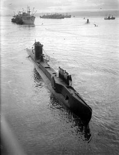 The U-class submarine HMS Ultimatum setting off from Holy Loch in August 1943...