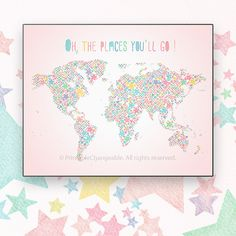 World map art printable navy green 57 by printablechangeable girls world map art printable colorful pink by printablechangeable gumiabroncs Image collections
