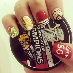 These #Blackhawks playoff nails are amazing! And the bearded guy kind of looks like Brandon Bollig. Win.