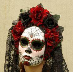 Viuda Negra Mask for Day of the Dead/Dia de los Muetos/Cosplay. $199.00, via Etsy.