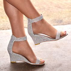 999ea60e089 NEW Ladies Sparkly Ankle Strap Wedges Mid Heel Evening Diamante Shoes H20261