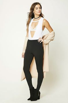 High-Waist Stretch Knit Pants