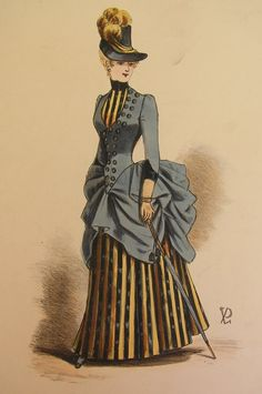 Loving the stripes!  Late 1880s
