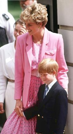 Princess Di in Pink with Harry, just lovely.