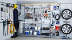 Thoughts and garage organization hacks. Incredibly simple garage storage and org. Thoughts and garage organization hacks. Incredibly simple garage storage and organization hacks you Garage Wall Storage, Garage Storage Systems, Locker Storage, Diy Locker, Garage Shelving, Tool Storage, Elfa Shelving, Storage Shelves, Storage Spaces