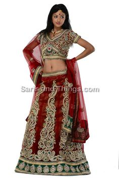 Red Wedding Lengha Choli, Red Bridal Lehega Choli | Saris and Things