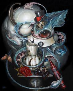 Fantastic world and pop surrealism of Greg Craola Simkins Frog Art, Surrealism Painting, Rabbit Art, Wine Art, Lowbrow Art, Whimsical Art, Surreal Art, Cool Artwork, Fantasy Art