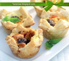 anchovy, olive, and basil tarts