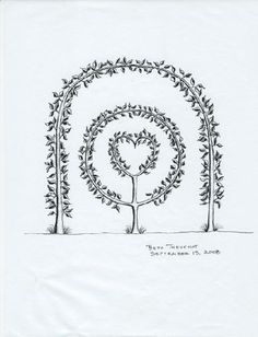 Espalier Arch with Heart in Circle