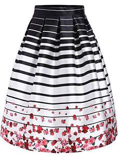 795a1e7b649 Lingswallow Womens White Striped Rose Print Knee Length Flare Skater Skirt