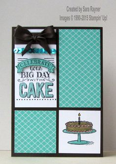 Big day stamped card, using Sale-a-bration freebies from Stampin' Up… Birthday Cards For Women, Handmade Birthday Cards, Happy Birthday Cards, Masculine Birthday Cards, Masculine Cards, Birthday Cake Card, Stamping Up Cards, Tampons, Card Sketches