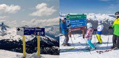 Pistenbeschilderung im amerikanischen Skigebiet Whistler. ©links: Chad Chomlack / rechts: Paul Morrison - Tourism Whistler Whistler, Heaven, Clouds, Dance Floors, Signage, Snow, Summer, Sky, Heavens