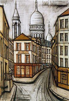 Bernard Buffet - La rue Norvins - 1989, oil on canvas - 130 x 89 cm