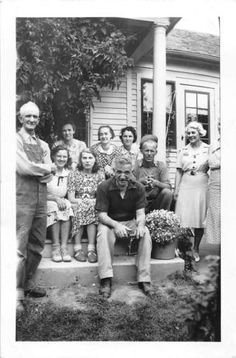 Photograph Snapshot Vintage Black and White: Porch Family Boys Girls 1950's