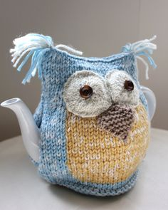 Organic Ocean Owl Tea Cosy - in Organic Ecofriendly Wool Cotton mix - by Tafferty Designs - Size MEDIUM - Made to Order
