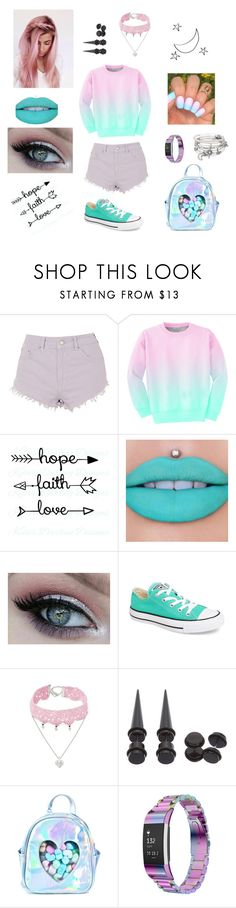 """""""No Inspiration//"""" by misguidedgracie ❤ liked on Polyvore featuring Topshop, Aloha From Deer, Jeffree Star, Converse, Design Lab, Hot Topic, Sugarbaby, Fitbit and Alex and Ani"""