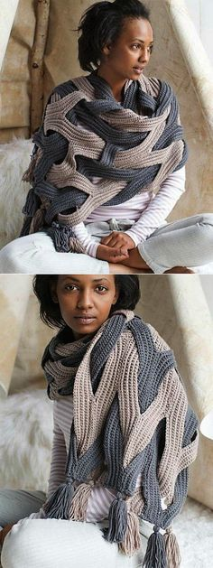 The post Chunky wrap sweater idea! 2019 appeared first on Yarn ideas. Poncho Au Crochet, Pull Crochet, Knitted Shawls, Crochet Scarves, Crochet Clothes, Knit Crochet, Poncho Shawl, Free Crochet, Baby Knitting Patterns