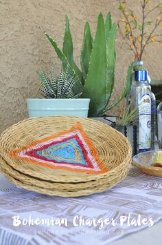 Summer Celebration : Bohemian Charger Plates - Thrift Store finds to fun BOHO plates! Delineateyourdwelling.com