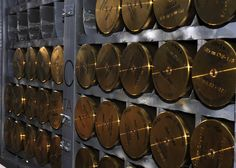 105 mm cannon rounds sit inside an AC-130H Spectre gunship. (U.S. Air Force photo by Airman 1st Class Evelyn Chavez)