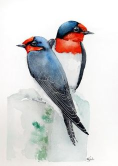 swallows -Original watercolors painting by Karolina Kijak