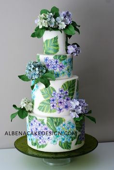 Floral Wedding Cake, hand painted complimented with beautiful hydrangea made out of sugar. Floral Wedding Cakes, Elegant Wedding Cakes, Floral Cake, Wedding Cake Designs, Wedding Cake Toppers, Elegant Cakes, Purple Wedding, Gold Wedding, Wedding Ideas