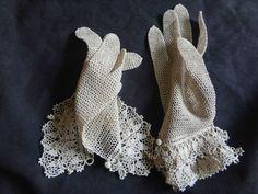 Edwardian Vintage Antique Irish Crochet Lace Wedding Gauntlet Gloves