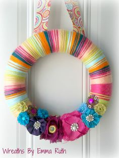 Colorful Bright Party Yarn Wreath in Pink by WreathsByEmmaRuth, $25.00