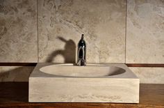 Linear: lavabo quadrato in travertino [TR013]
