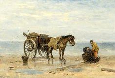 Johan Frederik Cornelis Scherrewitz (1868-1951). De netten worden in manden opgeborgen en in de nettenkar geladen.