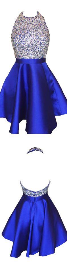 Shinny Rhinestone beaded bodice homecoming dresses,royal blue short prom dresses,halter 2017 homecoming dresses royal blue hoco dress / royal blue party dress / blue gown royal / white and royal blue wedding / blue dress royal Royal Blue Party Dress, Royal Blue Bridesmaid Dresses, Royal Blue Dresses, Blue Gown, Homecoming Dresses 2017, Royal Blue Shorts, 21 Birthday, Quinceanera Ideas, Wedding Blue