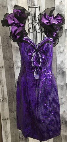 Vintage Loralie Purple Metallic Dress Sequin Beaded Bling Ruffled Black Size 16 #Loralie #StraightandFitted