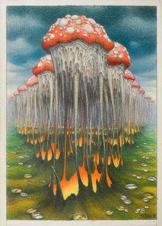Time of mushrooms - Jacek Yerka