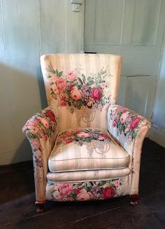 A 1930s ARMCHAIR WITH FLORAL UPHOLSTERY. SOLD. HUTCHISONANTIQUES.COM