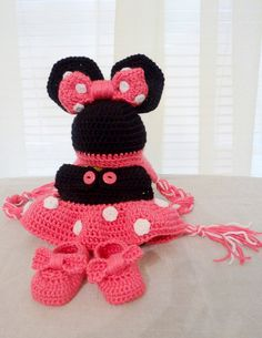 Minnie Mouse Hat Diaper Cover and Slipper Set  by HookinItForward, $45.00